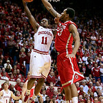 Indiana's Yogi Ferrell (11) has his shot blocked by Ohio State's Amir Williams during the second half of an NCAA college basketball game, Tuesday, March 5, 2013, in Bloomington, Ind. Ohio St …