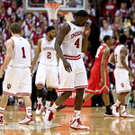 Indiana's Victor Oladipo (4) wipes his face after fouling out during the second half of an NCAA college basketball game against Ohio State, Tuesday, March 5, 2013, in Bloomington, Ind. Ohio  …