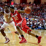 Ohio State's Lenzelle Smith Jr., (32) drives to the basket against Indiana's Yogi Ferrell during the first half of an NCAA college basketball game, Tuesday, March 5, 2013, in Bloomington, In …