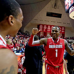 Ohio State's Deshaun Thomas (1) celebrates with Lenzelle Smith Jr., after their 67-58 win over Indiana in an NCAA college basketball game, Tuesday, March 5, 2013, in Bloomington, Ind. (AP Ph …