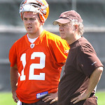 New QB Colt McCoy stands talks with a member of the Browns staff during day one of the Browns Rookie Camp.