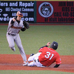 Crushers Brian Haggett is thrown out at second on the force out. CHRISTY LEGEZA/CHRONICLE