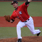 Crushers' starting pitcher Connor Whalen delivers against the Boomers. CHRISTY LEGEZA/CHRONICLE