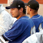 Washington Wild Things #18 Steven Grife, from Sheffield Lake, watches the game with fellow pitchers.