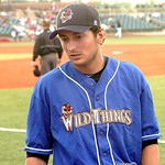Washington Wild Things #18 Steven Grife from Sheffield Lake stands to stretch his legs as he talks to fellow pitchers in the bullpen.