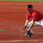 Crushers first baseman Joey Burney makes the grab at first for the out. CHRISTY LEGEZA/CHRONICLE