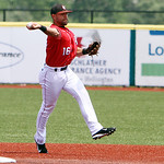 Lake Erie Crushers second baseman Vincent Mejia turns to throw out the runner at first base. ANNA NORRIS/CHRONICLE