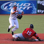 Crushers second baseman Anderson Hidalgo tries for the double play, but gets injured. CHRISTY LEGEZA/CHRONICLE