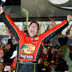 Jamie McMurray celebrates in victory lane after winning the NASCAR Daytona 500 auto race at Daytona International Speedway in Daytona Beach, Fla., Sunday, Feb. 14, 2010. (AP Photo/John Raoux …