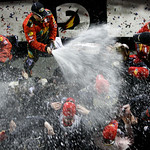 Jamie McMurray, top, sprays his crew with champagne in victory lane after winning the NASCAR Daytona 500 auto race Sunday, Feb. 14, 2010, at Daytona International Speedway in Daytona Beach,  …