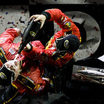 Jamie McMurray pours champagne into the mouth of his crew chief, Kevin Manion, while celebrating in victory lane after McMurray won the NASCAR Daytona 500 auto race Sunday, Feb. 14, 2010, at …