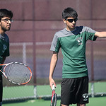 Doubles champions from Westlake Pranay Arora, left, and Ameesh Shah at the SWC tennis tournament. RAY RIEDEL/CHRONICLE