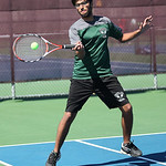 Doubles champion from Westlake, Pranay Arora, hits a forehand return in the final match. RAY RIEDEL/CHRONICLE