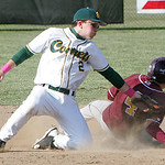 Avon Lake's #4 David Winkle steals second with the tag by Comet #2 Zach Bires.  photo by Chuck Humel