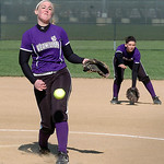 Vermilion's starting pitcher #5 Jessica Tucker and #2 Carly Skettle covering second.