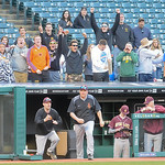 Avon Lake fans cheer as head coach Kevin Marlow heads out to congratulate his team after it defeated St. Ignatius, 7-5, Friday night at Progressive Field. JUDD SMERGLIA/CHRONICLE