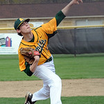 Amherst's Noah Skladan pitches. STEVE MANHEIM/CHRONICLE