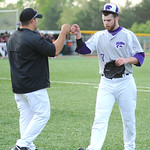 Keystone pitcher Kendle Stiner is congratulated after a successful inning with two strikeouts. KRISTIN BAUER | CHRONICLE