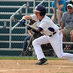 Vermilion's Nick Bray hits a sacrifice bunt.  STEVE MANHEIM/CHRONICLE