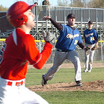 Clearview pitcher #37 Robert Branscum throws out Brookside's #6 Anthony Loparo at first.