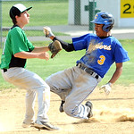 Clearview's Antonio Bennett steals second base before the ball reaches Columbia's John Cordell in first inning. May 8.  Steve Manheim