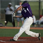 Tyler Gullett gets a hit in the 4th inning at the Div III district championship in Parma. photo by Ray Riedel
