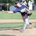 Oberlin's Tyler Buga pitches against Wellington in the second inning of the sectional game yesterday afternoon at Wellington High School. Oberlin fell to Wellington in extra innings 4-5. (CT …