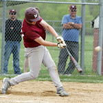 Wellington's Erik Fehlan gets a hit in the bottom of the eighth inning against Oberlin in the sectional game yesterday at Wellington High School. Wellington won 5-4 in extra innings. (CT pho …