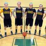 Taylor Gibson, left,  Morgan Dziak, Brianna Shagovac, Sydney Failing, Hannah Brosky and Megan Salisbury of Amherst basektball on Feb. 12.  Steve Manheim