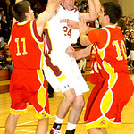 1-24-12 linda murphy</p> <p>AL&#039;s #24 Eric Stuczynski tries to get to the basket  thru Brecksville&#039;s #11 Mark Chrzanowski #10 Tom Tupa &amp; (behind) #20 Tim Tupa. but is fouled.