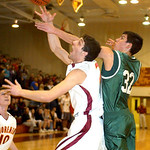 AL's #21 Ronnie Willoughby is fouled by Westlake's #32 Grant Gase.