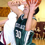 AL's #50 Trent Toy blocks Westlake's #30 Jason Labroo.