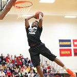 Rashod Berry of Lorain High competes in the dunk competition at Oberlin College. photo by Ray Riedel