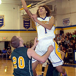 Clearview's Gerrell Williams drives on Amherst's Garrett Klekota. LINDA MURPHY/CHRONICLE