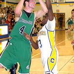 Columbia's Jay Banyasz drives past Clearview's Sharrod Brown. LINDA MURPHY/CHRONICLE