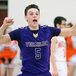 Vermilion's Kyle Nader celebrates after the Sailors beat Buckeye 74-72 in the Westlake district semi-final game. (RON SCHWANE / CT)