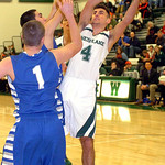 Westlake's Joe Hadib-Nissan tries to shoot past Bay's John Koz and Rex Sunahara. LINDA MURPHY/CHRONICLE