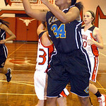 Clearview&#039;s #34 Angel Blakely shoots past Lutheran West&#039;s #33 Marissa Spelich.