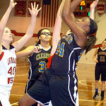 Clearview&#039;s #24 Desiree Ray shoots past Lutheran West&#039;s #40 Amanda Stephens and #20 Ari Tomosula.
