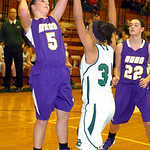 Avon&#039;s #5 Payton Mitchell tries to shoot past EC&#039;s #31 Karissa McGrath.
