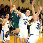 EC&#039;s #2 Julia Scarpelli tries to shoot past Bay&#039;s #11 Lauren Heldt.