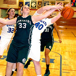 EC's #33 Emily Millar fights Bay's #40 Ellen Hanna for the rebound.