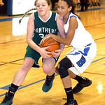 EC&#039;s #22 Shannon Hopkins fights Bay&#039;s #2 Megan Williams for the ball.