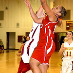 Elyria&#039;s #15 Mary Jones shoots past Avon Lake&#039;s #11 Anelise Kollias.