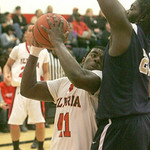 Garfield Hts at Elyria High School: #41 Chase Farris up against a wall. photo by Chuck Humel
