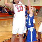 Elyria's #10 Shayla Middlebrooks shoots past Midview's #11 April Rieth.