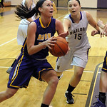 Avon's Allie Bjorn drives past Vermilion's Jen Kovarik. STEVE MANHEIM/CHRONICLE