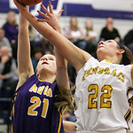 ANNA NORRIS/CHRONICLE<br /> Avon&#039;s Sarah Sprecher and Wooster&#039;s Sarah Calmie battle for the rebound in the first half of the Division I district semi-final game at Valley Forge High School Monday  &#8230;