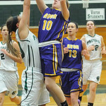 Elyria Catholic's Rachel Cairns defends against Avon's Alyssa Douzos. STEVE MANHEIM/CHRONICLE