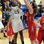 Clearview's Tahjanae Coleman-Flowers shoots over Fairview's Rachel Malloy. STEVE MANHEIM/CHRONICLE